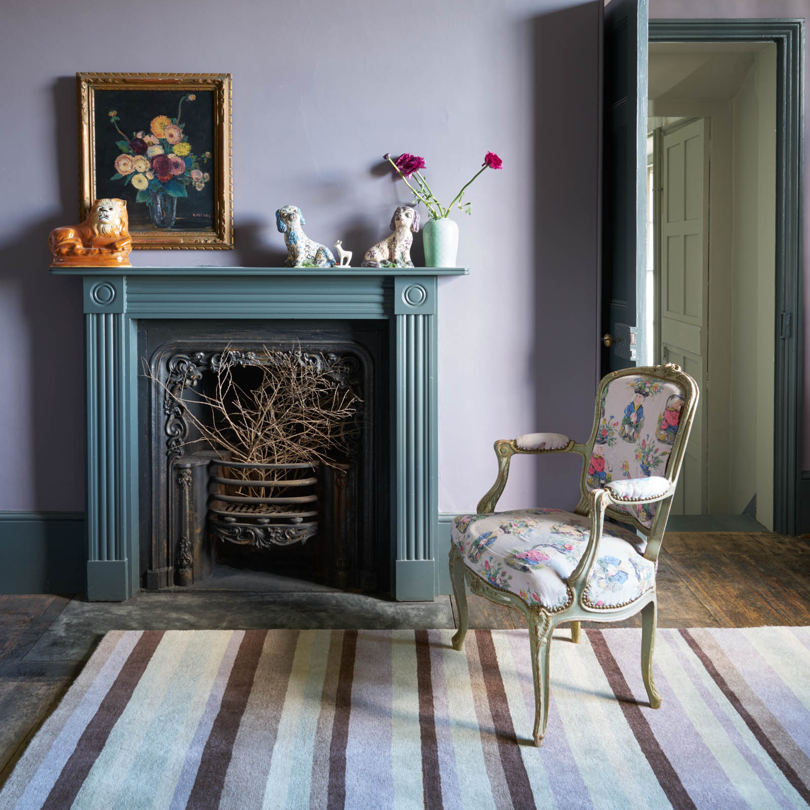 Ainslie Striped Rugs AIN02 in Mauve