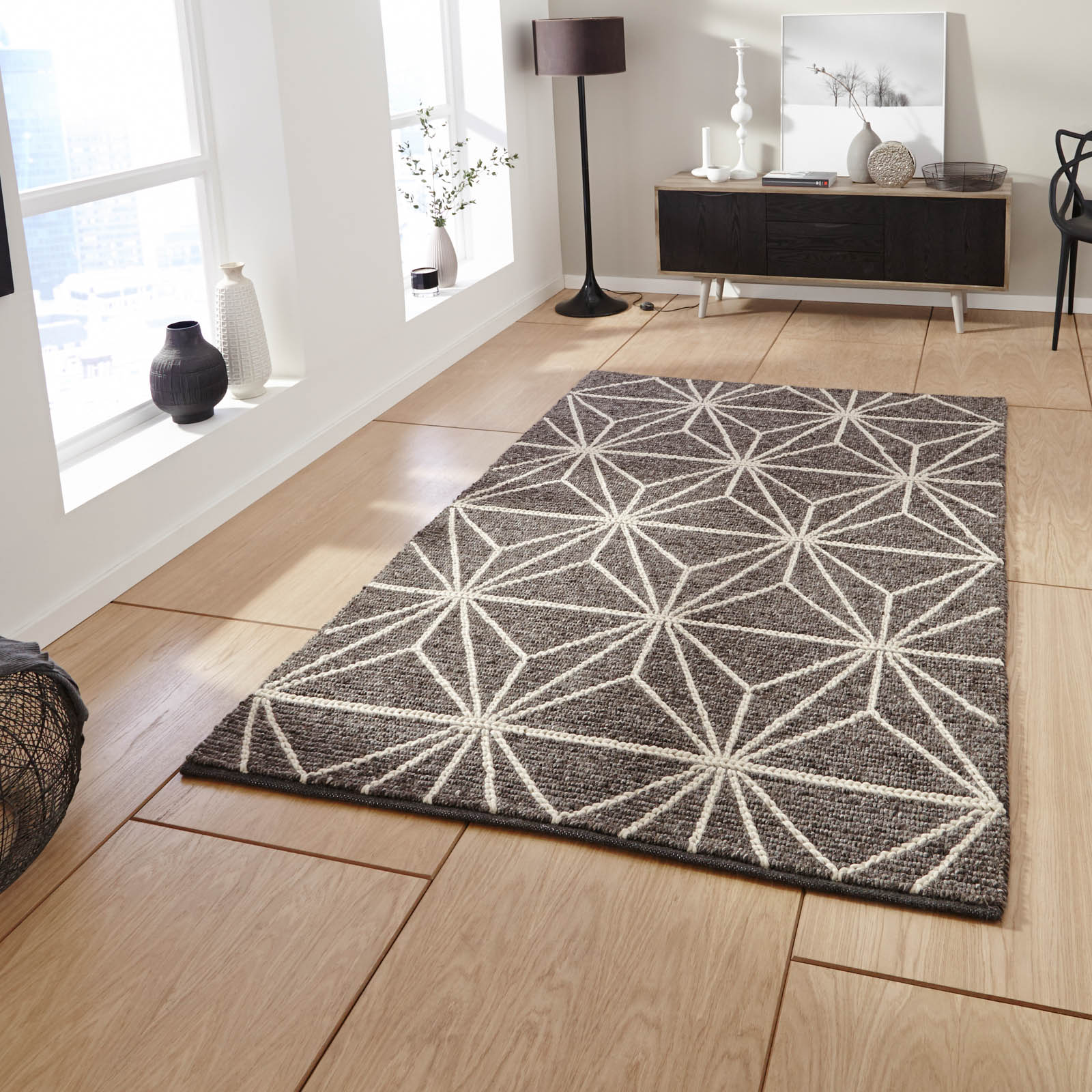 Alpha AL73 Wool Rugs in Brown