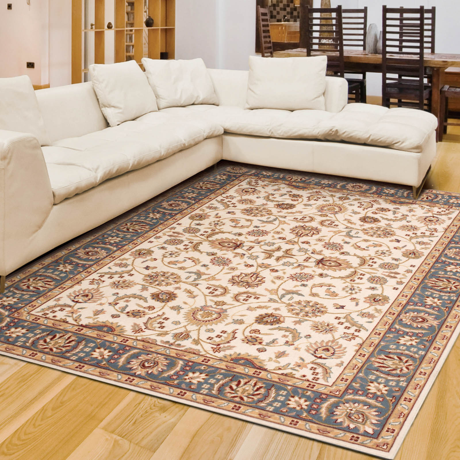 Artena Rugs ATN02 in Ivory and Blue