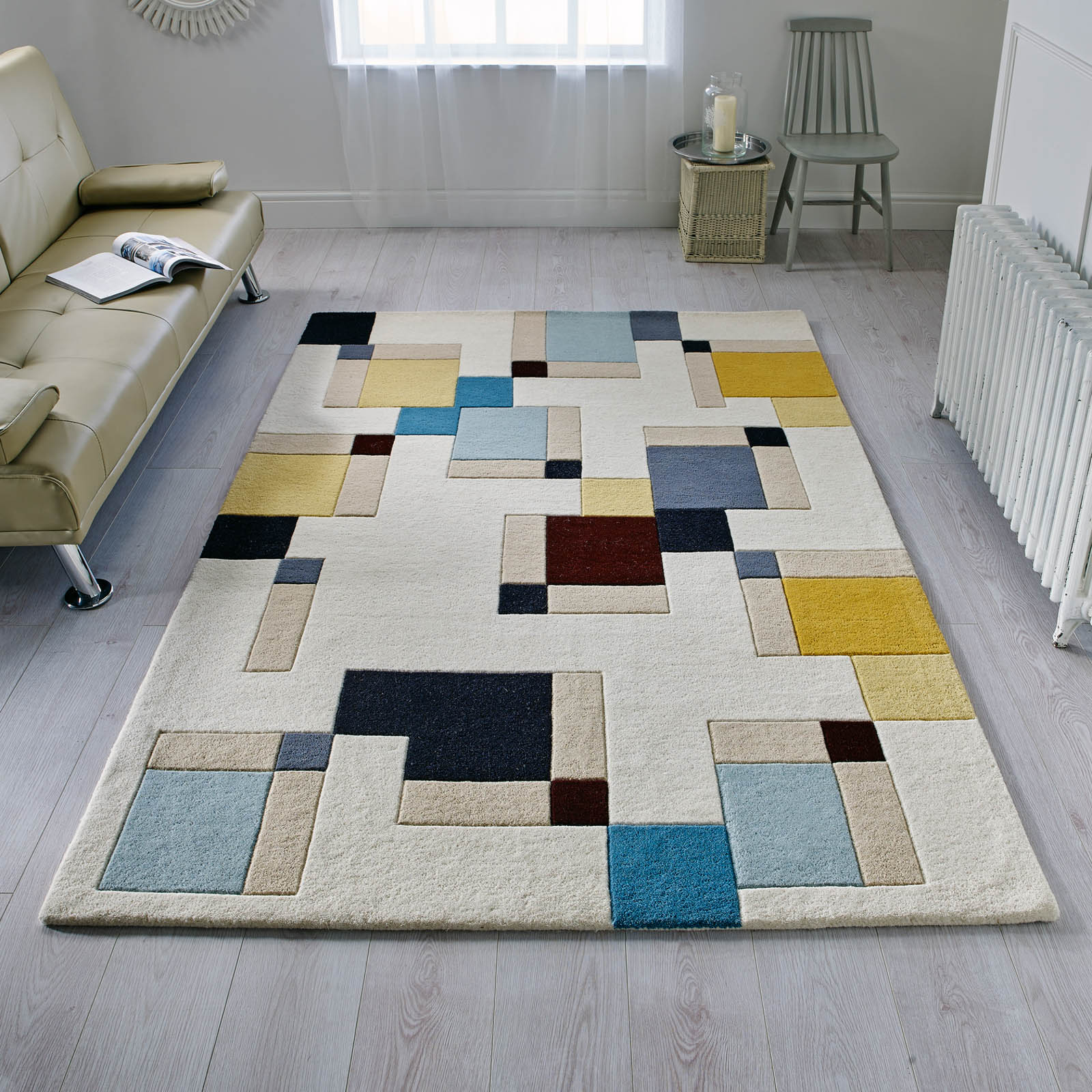 Illusion Abstract Blocks Rugs in Blue and Ochre
