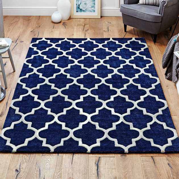 Blue Arabesque Rug Living Room: Arabesque Rug In Blue