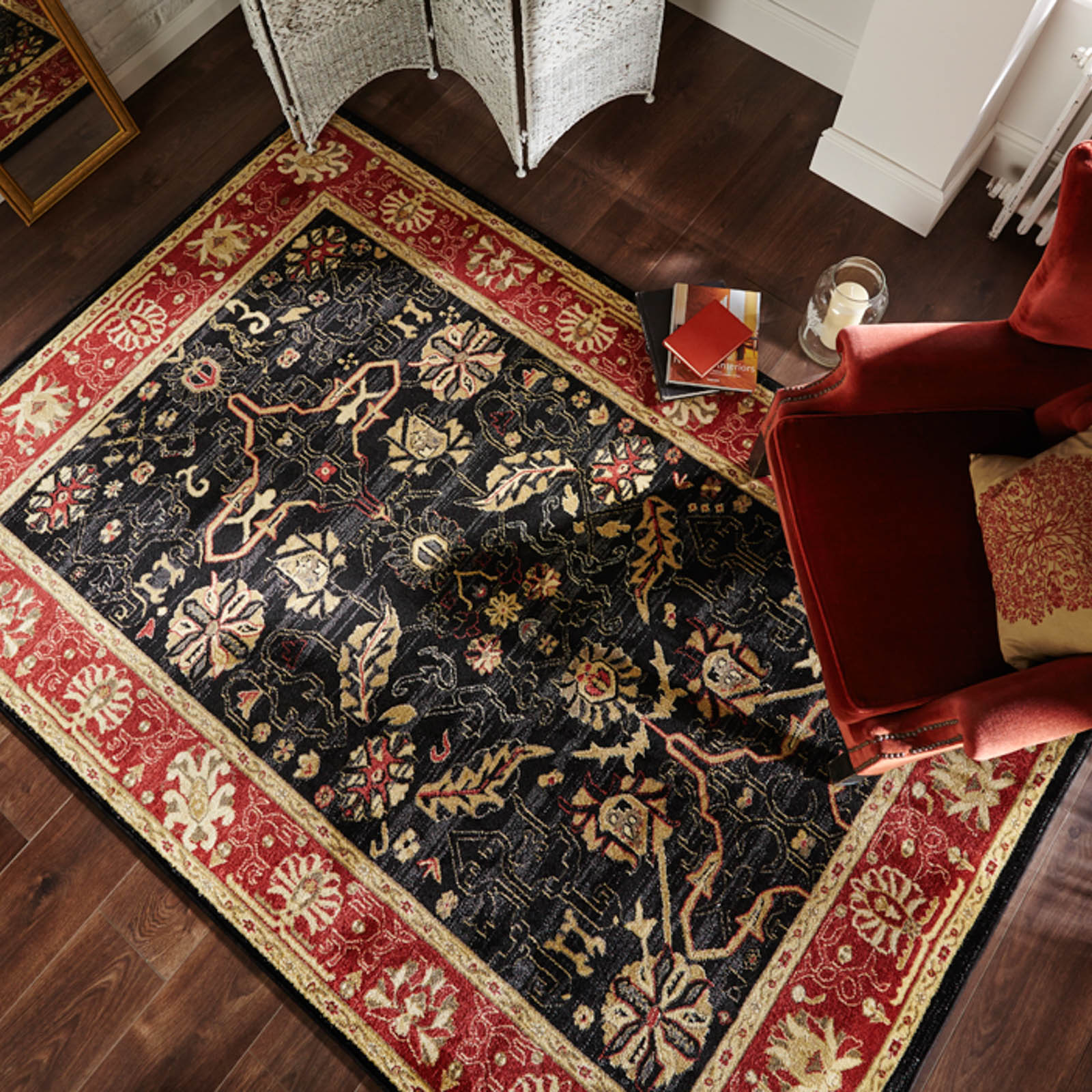 Ziegler Arak Rugs in Black Rust