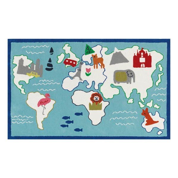 Around the World Aqua Rug by Designers Guild  Free UK