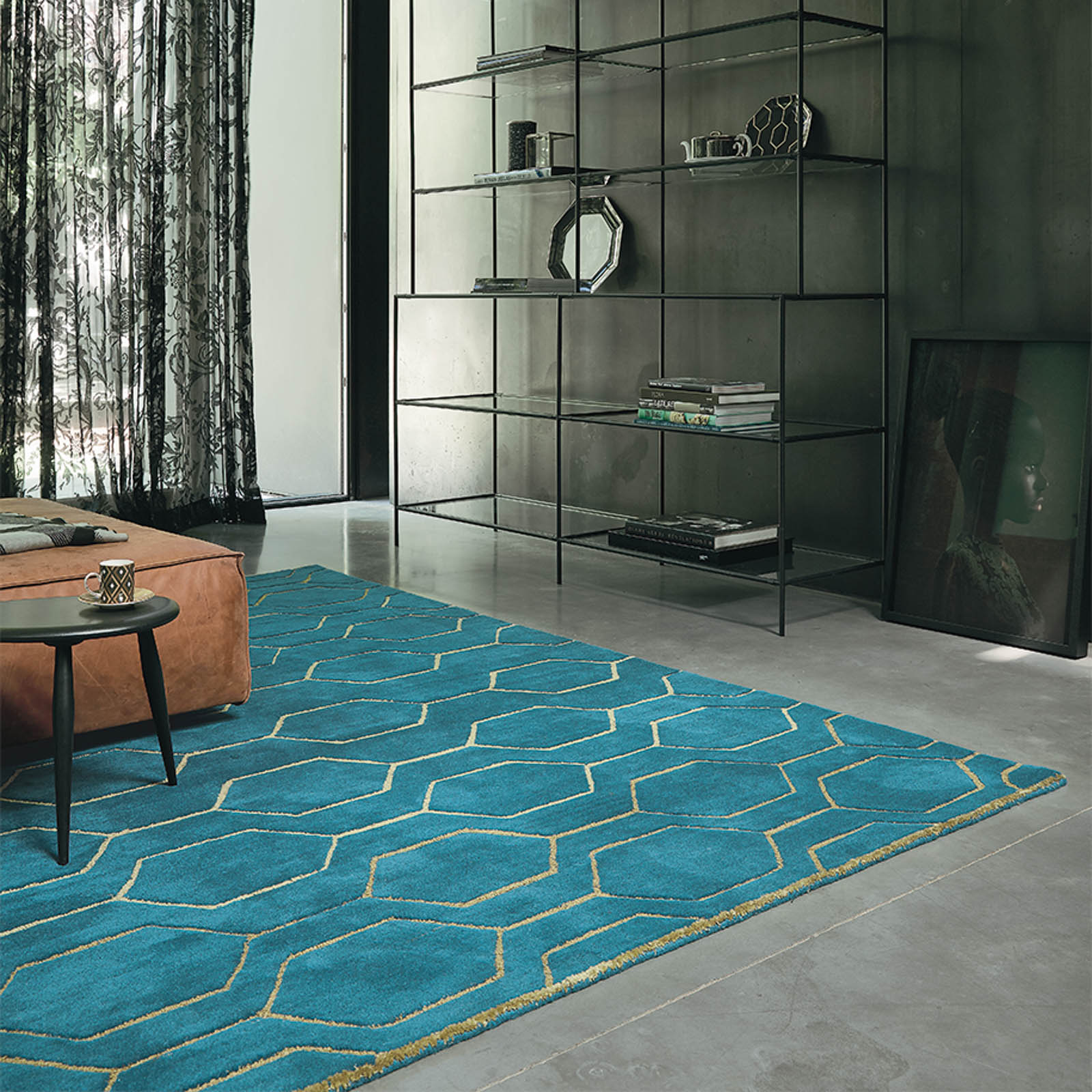 Arris Rugs 37307 in Teal and Gold by Wedgwood