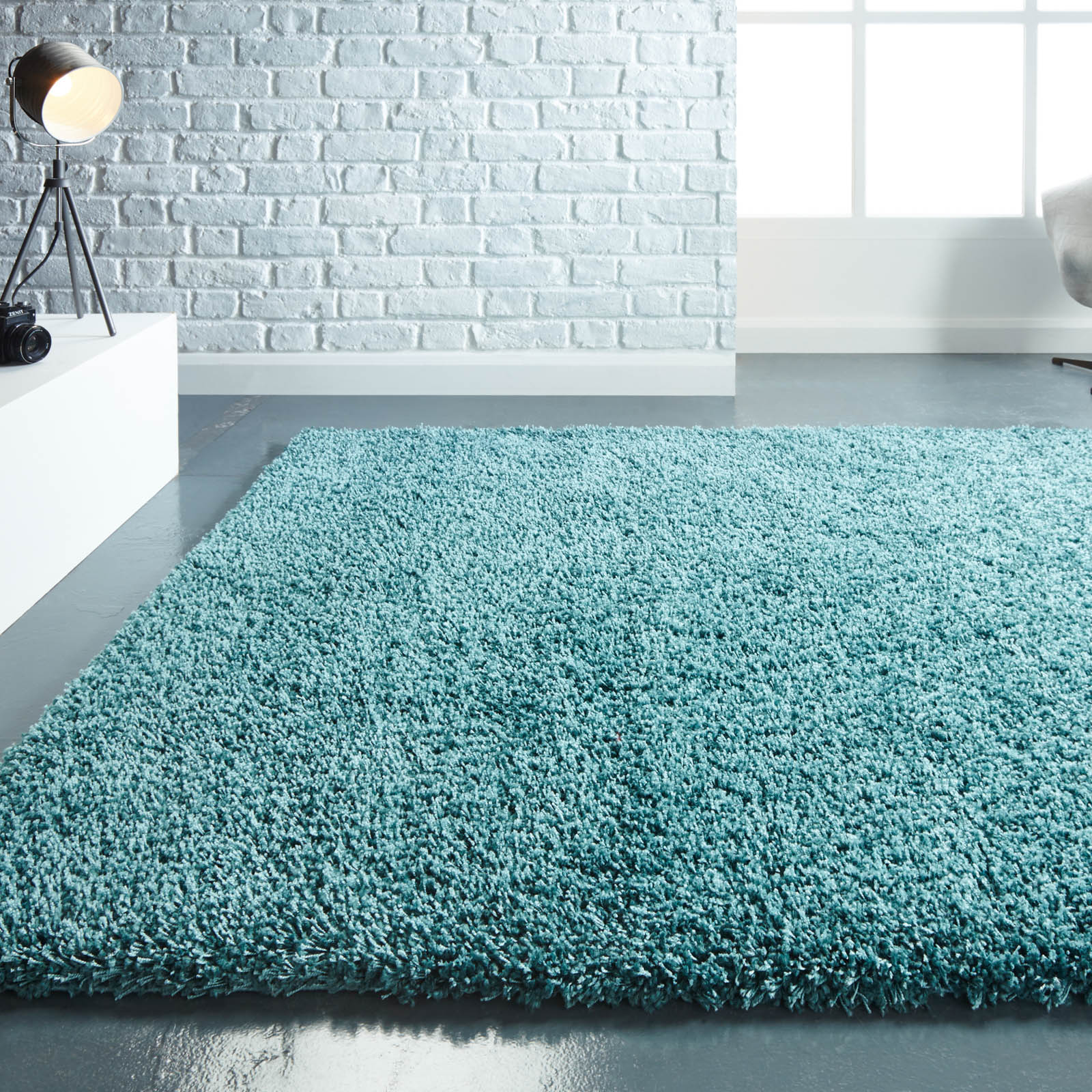 Athena Shaggy Rugs in Teal
