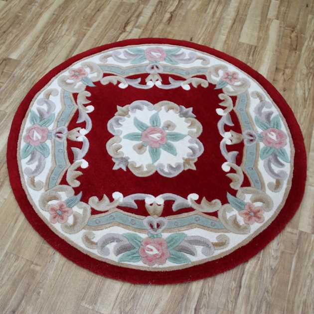 Aubusson Circular Rug 0218 in Red