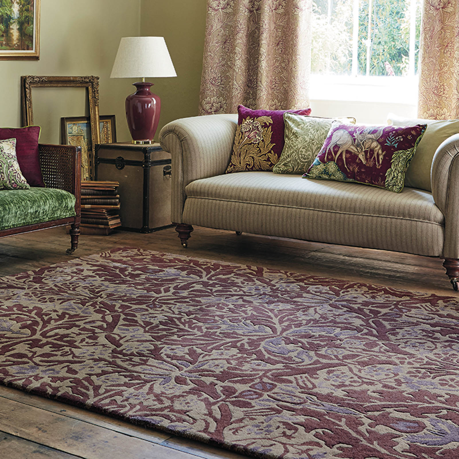 Autumn Flowers Rugs 27500 in Plum by William Morris