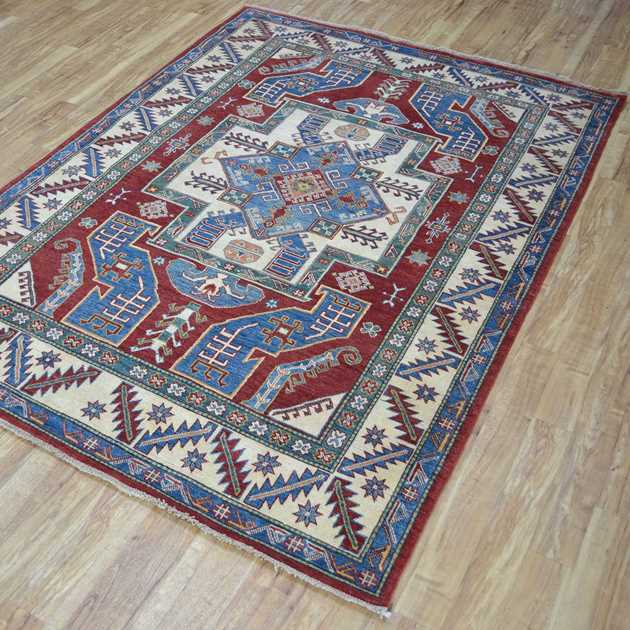 Azerbaijan Kazak Hand Knotted Wool Rug in Red and Blue