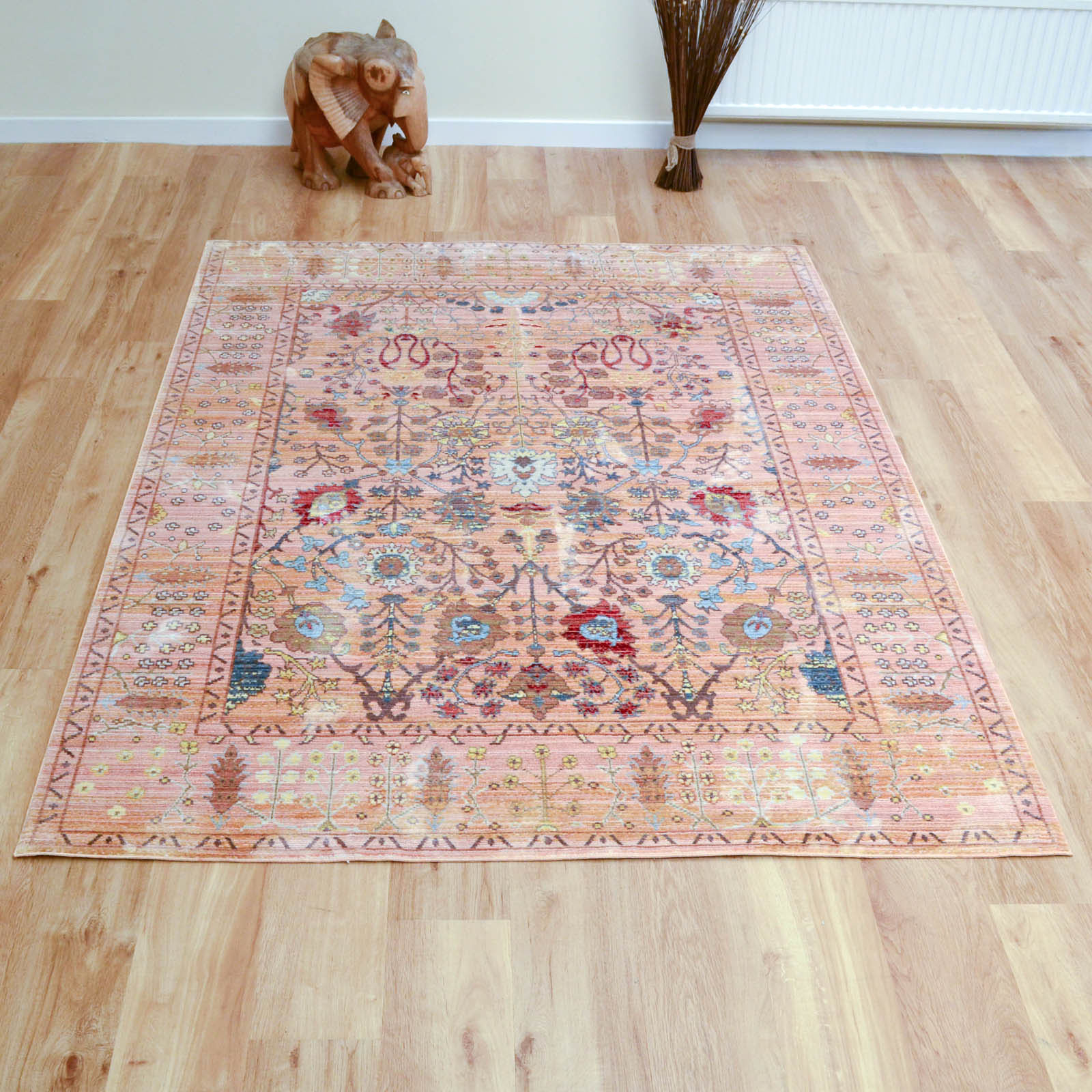 Aqua Silk Traditional Rugs B050b in Beige and Orange
