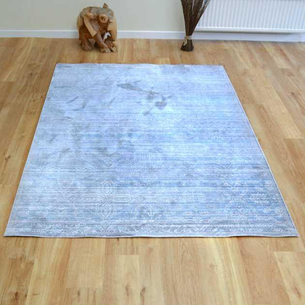 Aqua Silk Traditional Rugs B471a In Grey