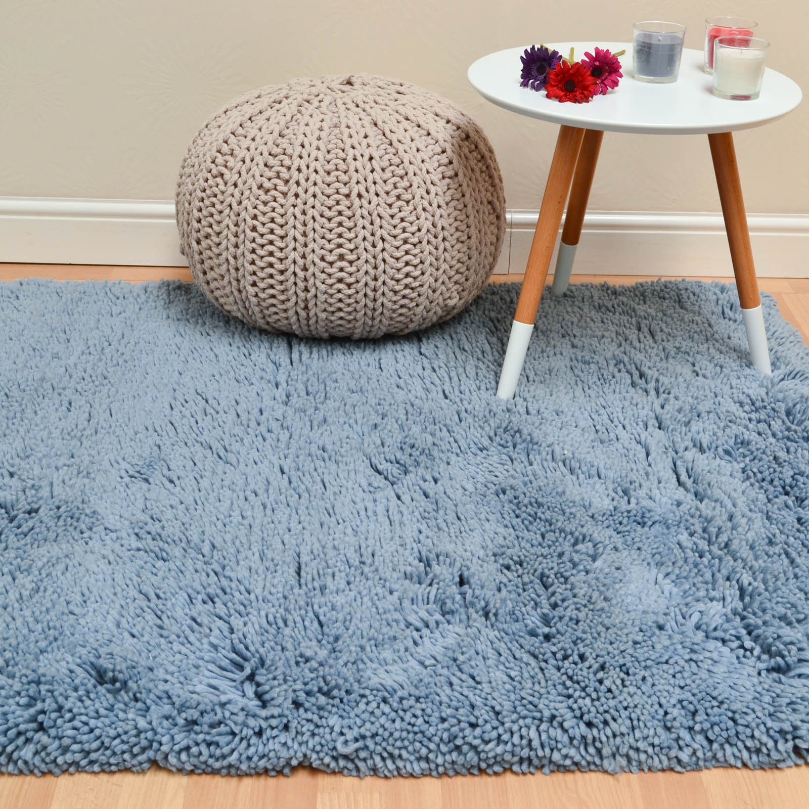 Beauticious Shaggy Rugs BEU04 in Pastel Blue