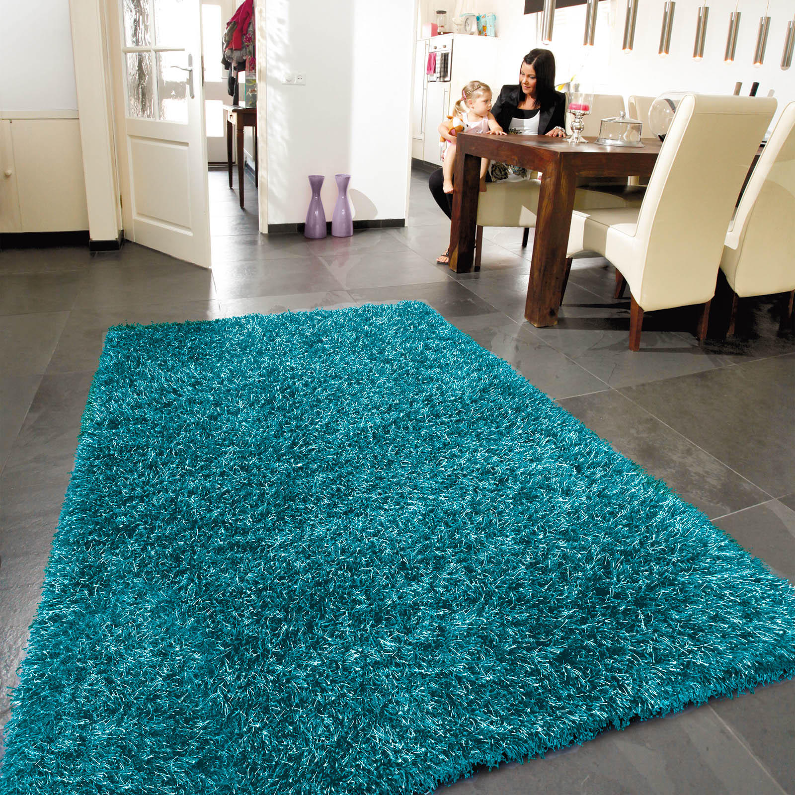 Lounge Collection Beat Shaggy Rugs 09 Aqua