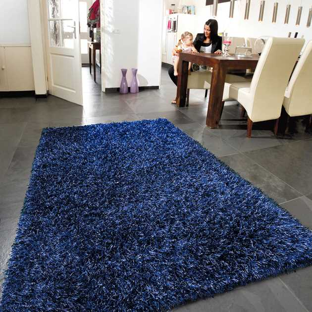Lounge Collection Beat Shaggy Rugs 10 Midnight Blue
