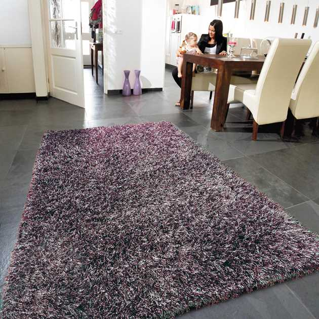 Lounge Collection Beat Shaggy Rugs Silver Red 12