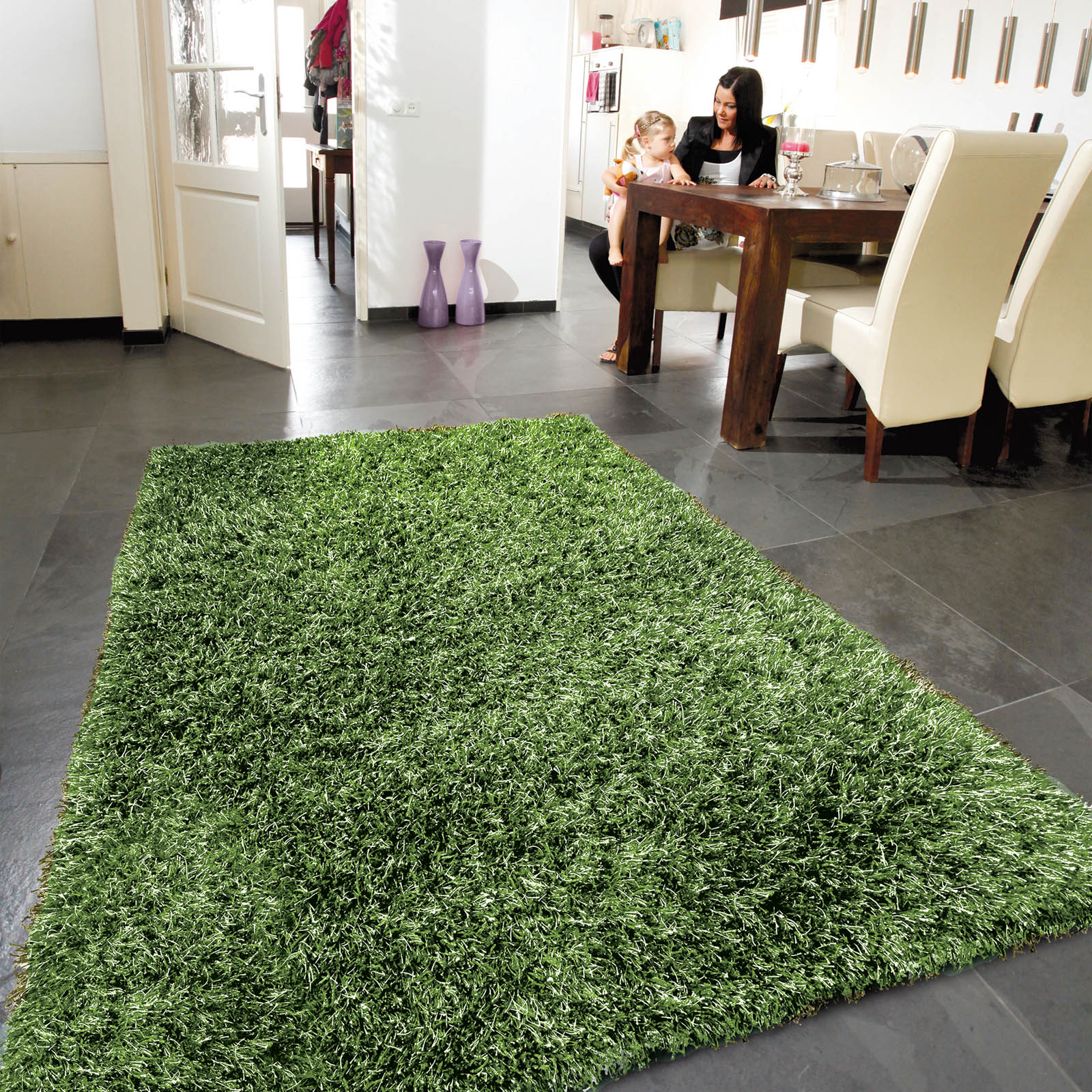 Lounge Collection Beat Shaggy Rugs Green 62