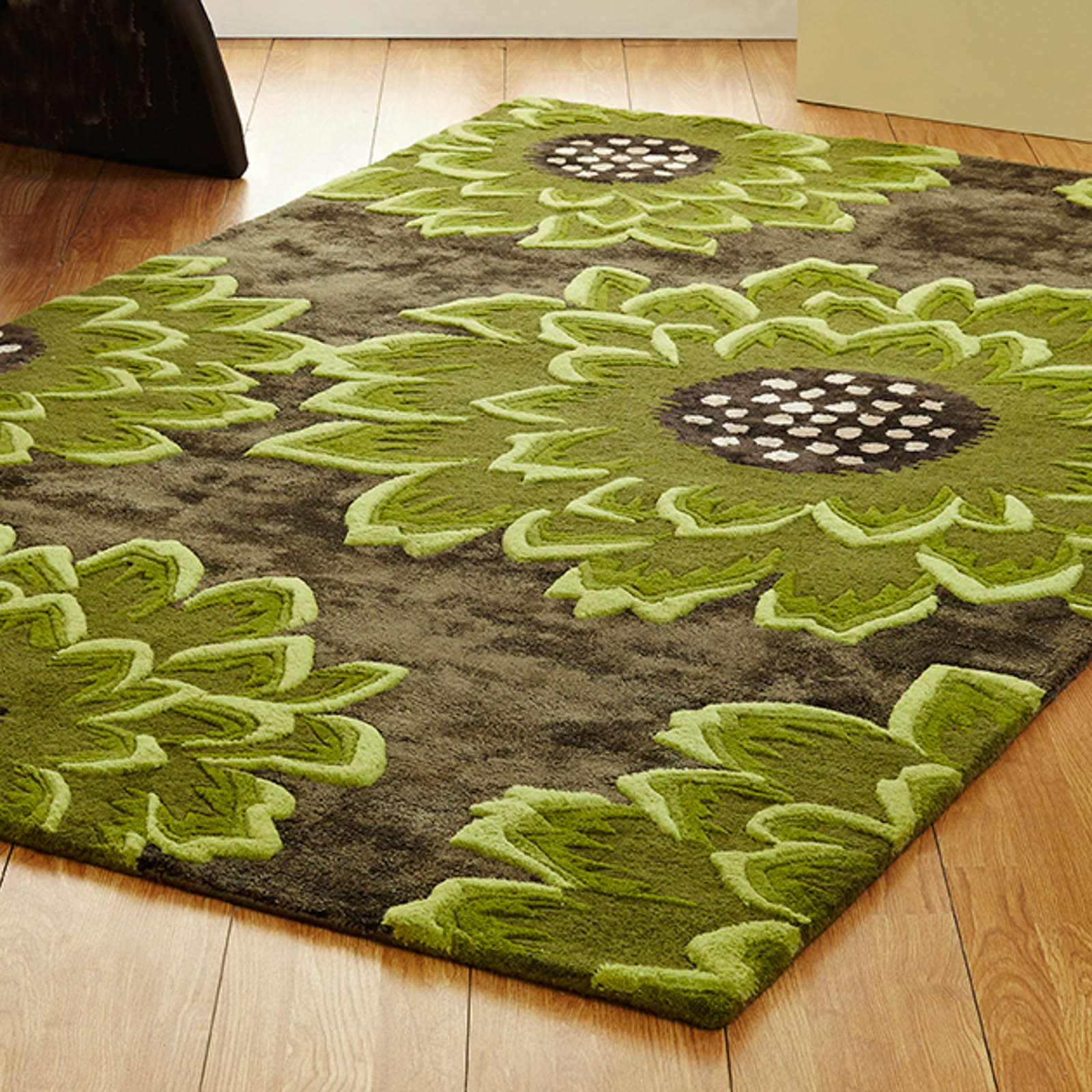 Unique Bloom Rugs In Chocolate Green