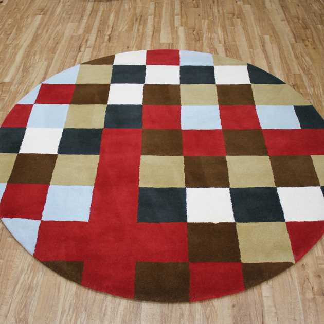 Boxes Multicoloured Circular Rugs