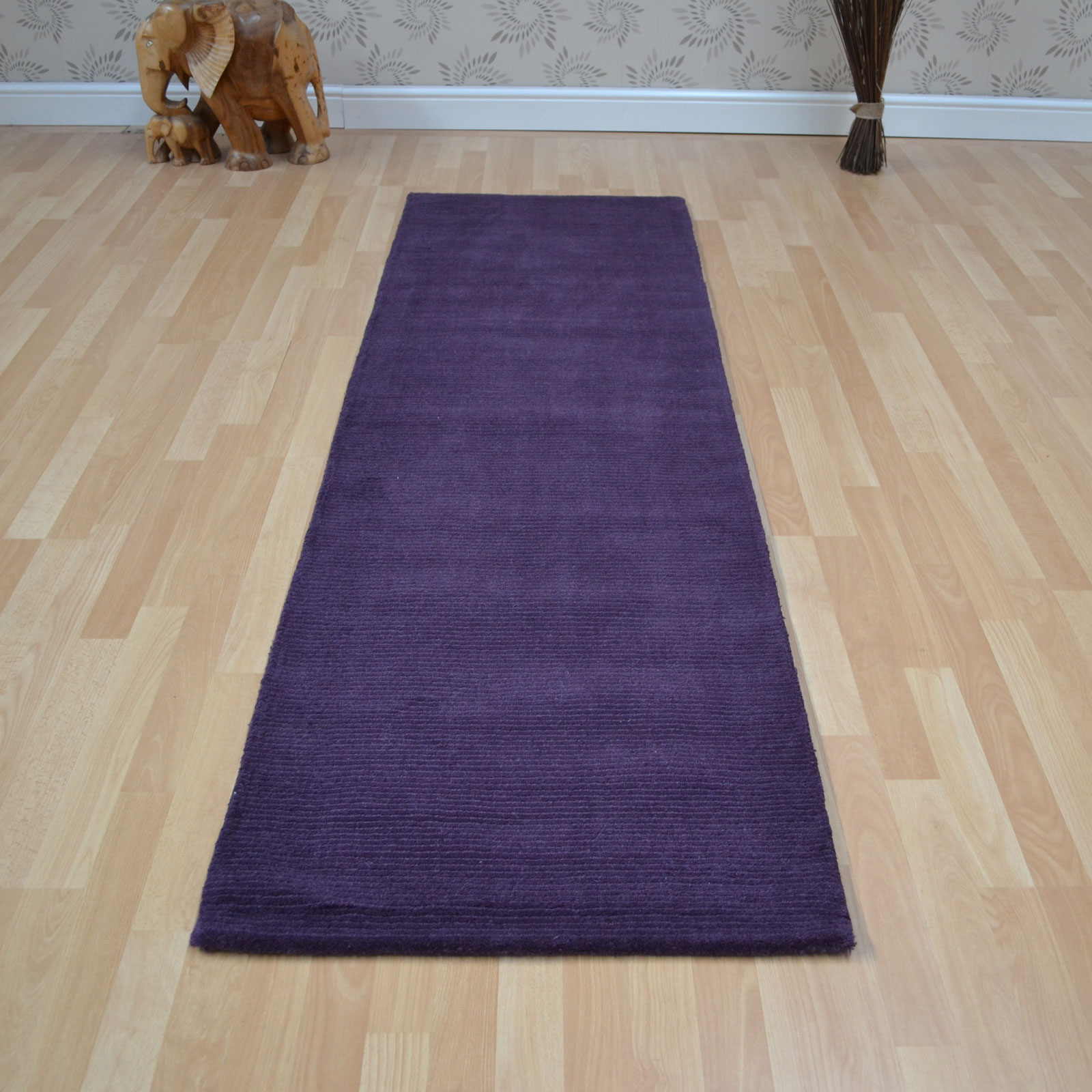 Brighton Plain Purple Wool Hallway Runners