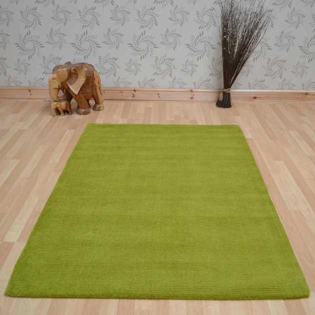 Brighton Plain Lime Green Wool Rugs