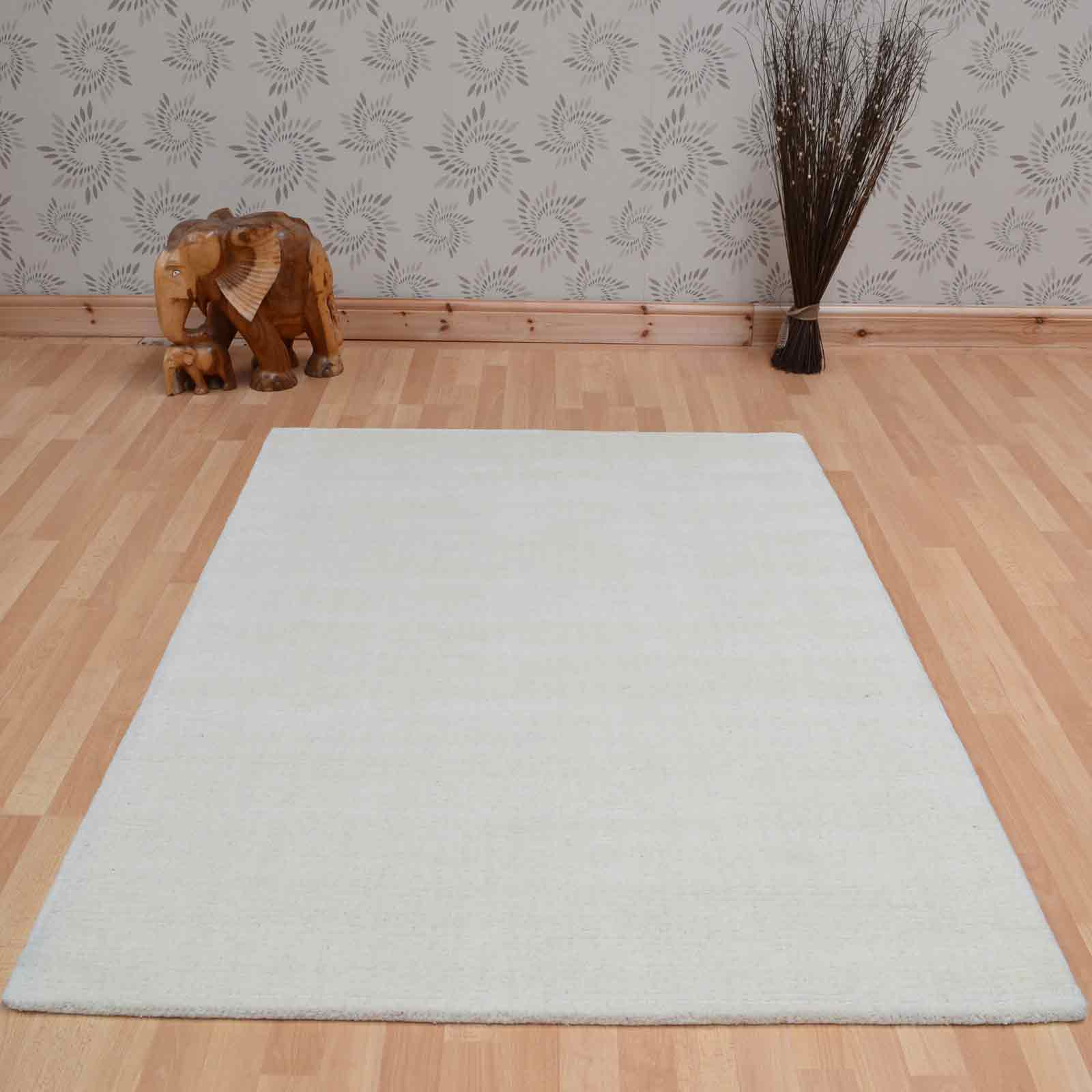 Brighton Plain Ivory Wool Rugs