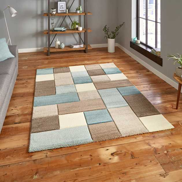 Brooklyn Rugs 646 in Beige and Blue