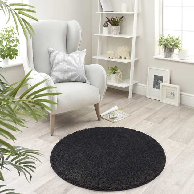 Buddy Washable Round Rugs in Black