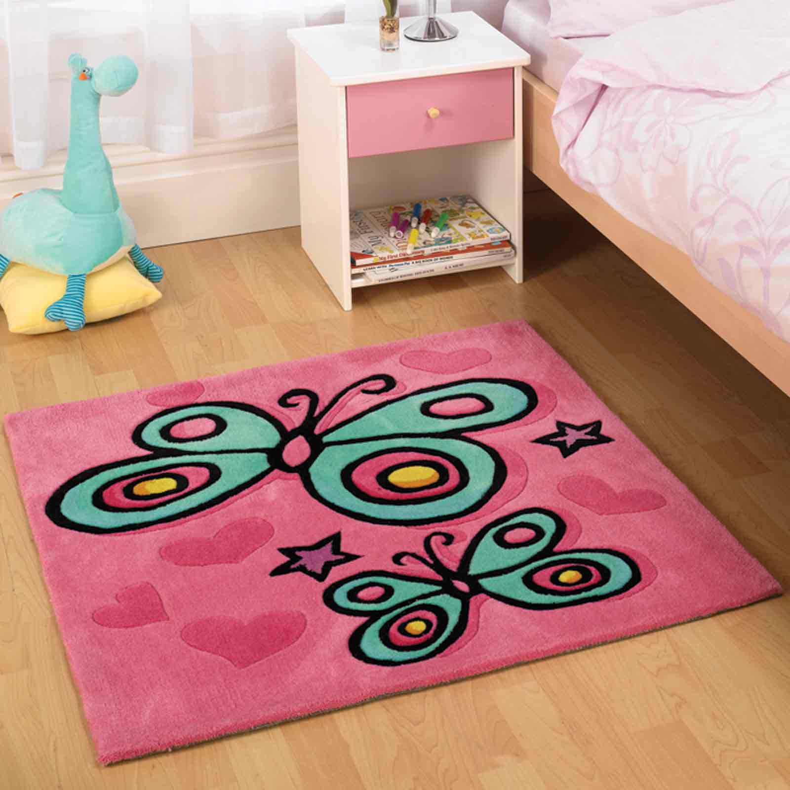Butterfly Pink Childrens Rugs