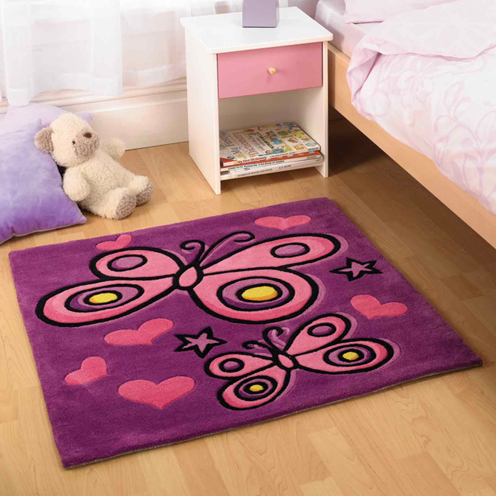 butterfly purple childrens rugs free uk delivery the rug seller