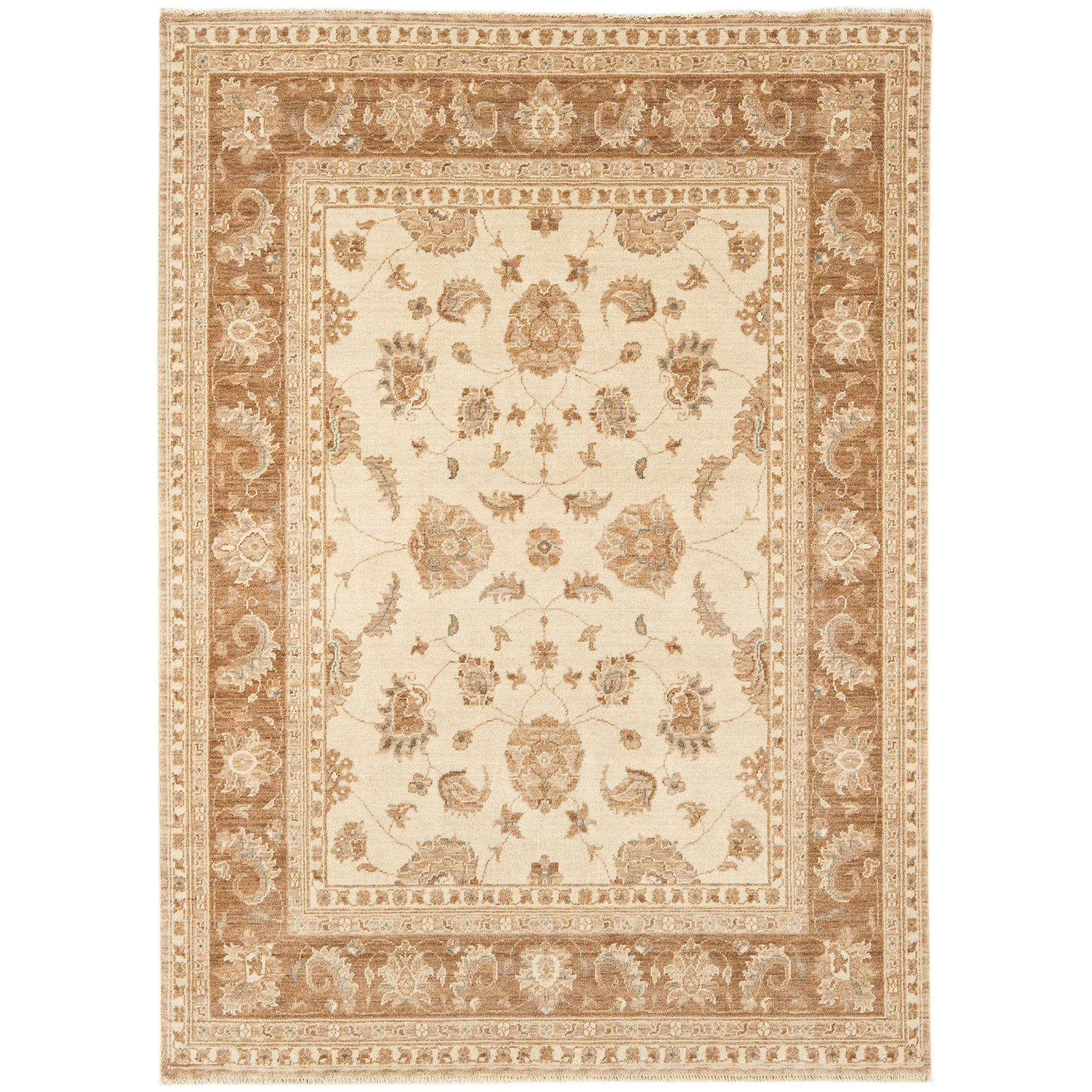 Chobi Rugs CB03 in Beige and Brown