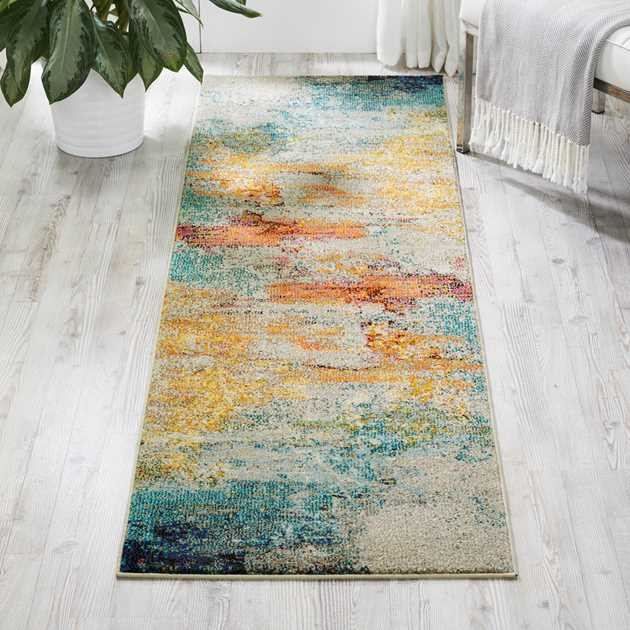 Celestial Hallway Runner CES02 in Seaglass by Nourison