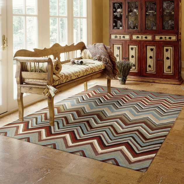 Contour Rugs CON23 Multi Coloured Chevrons