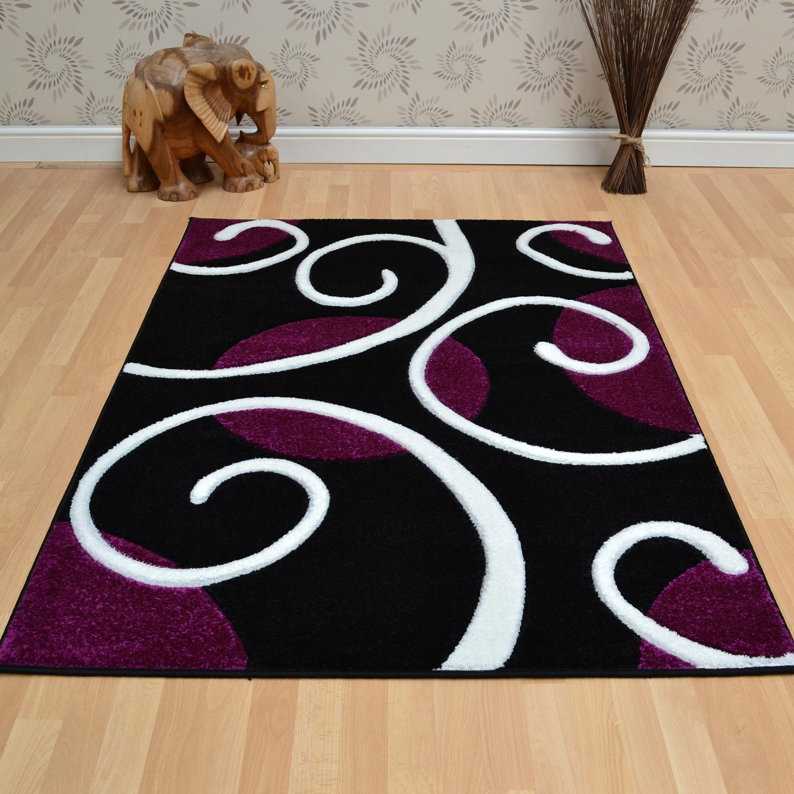 Couture Rugs COU04 Purple Black Free UK Delivery The