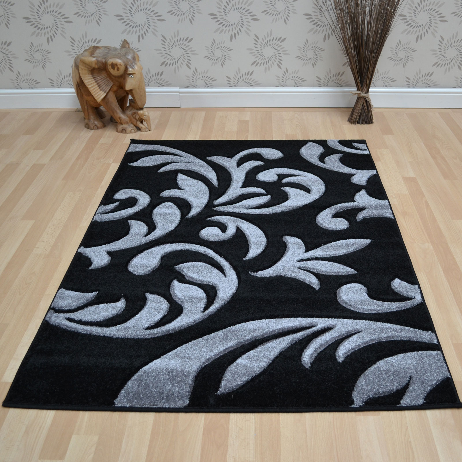 Black And Grey Rugs: Couture Rugs COU08 Black Grey