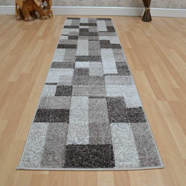 Couture Hallway Runners COU14 Blocks Taupe