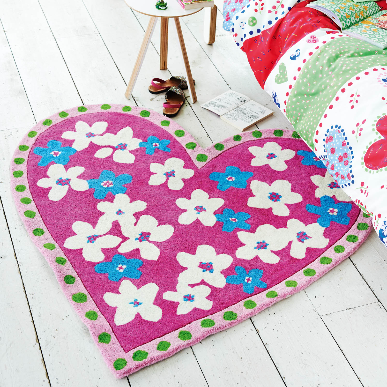 Candy Hearts Fuchsia Rug by Designers Guild