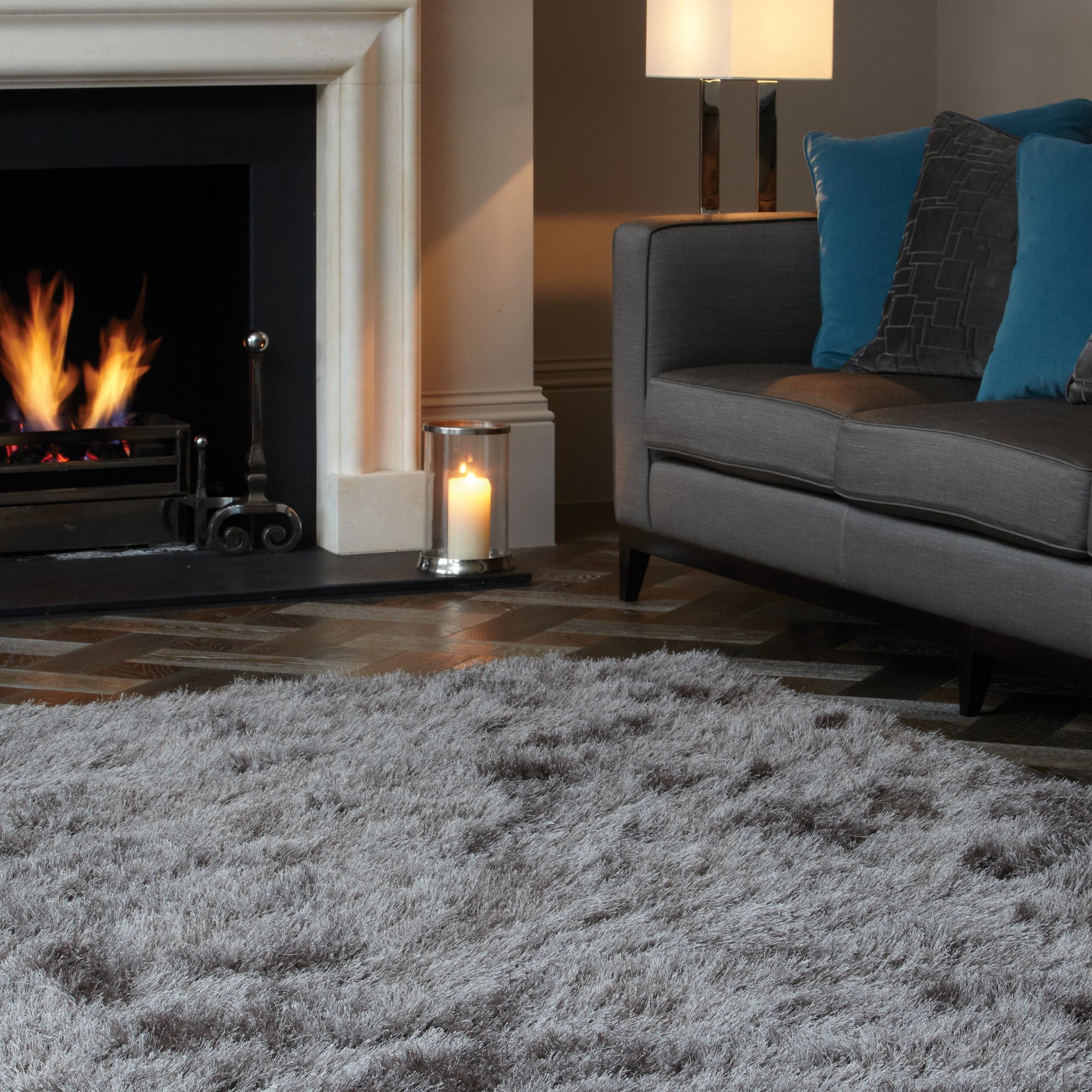 Cascade Shaggy Rugs in Taupe
