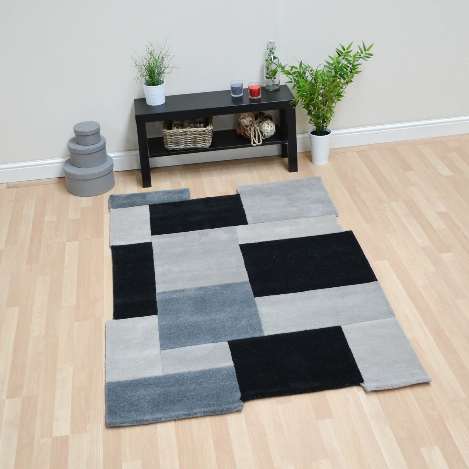 Abstract Collage Rugs in Black Grey