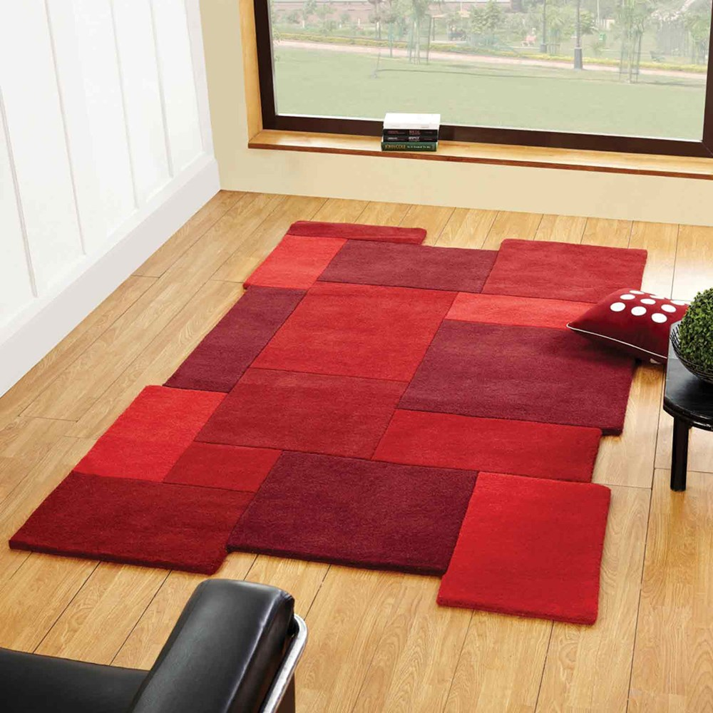 Abstract Collage Rugs In Red Buy Online From The Rug Seller Uk