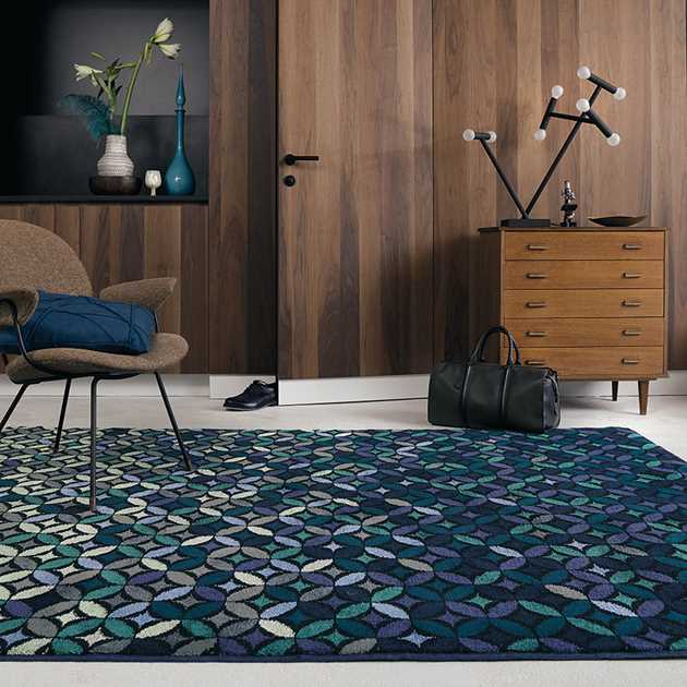 Cosmoz Rugs 58908 in Teal by Ted Baker