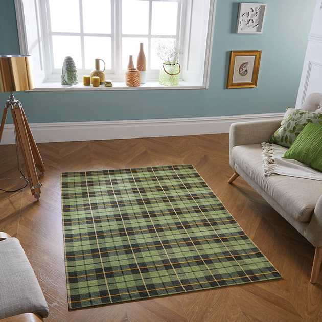 Cottage Washable Flatweave rugs 11G in Green