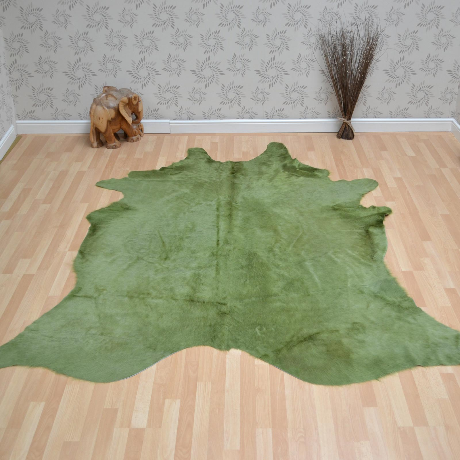 Cowhide Rug in Plain Green