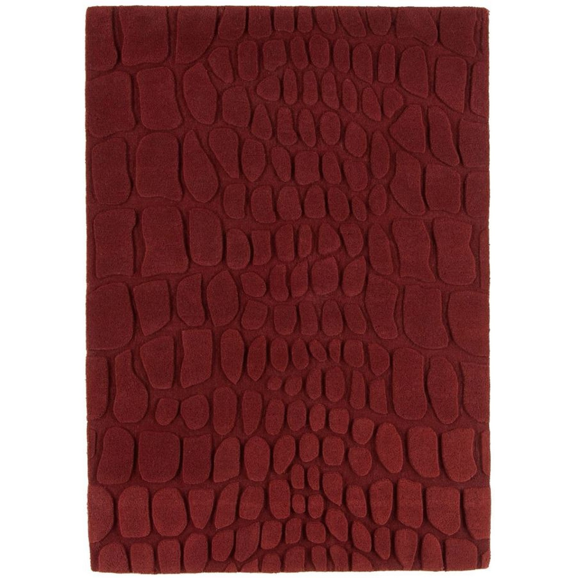 Croc Wool Rugs in Red
