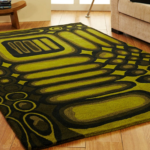 Unique Cuba Rugs In Green Charcoal Free Uk Delivery