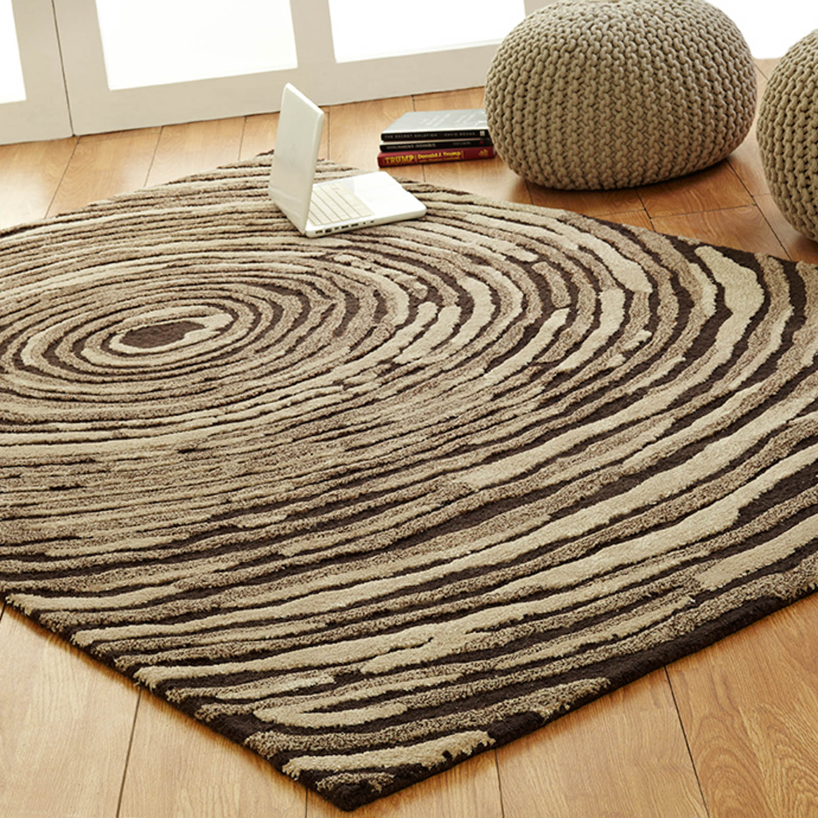 Unique Cyclone rugs in Brown Beige