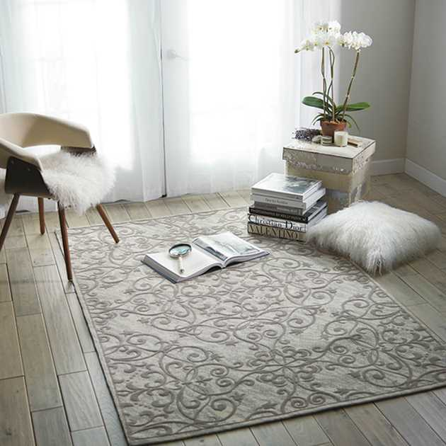 Damask Rugs DAS01 in Ivory and Grey by Nourison