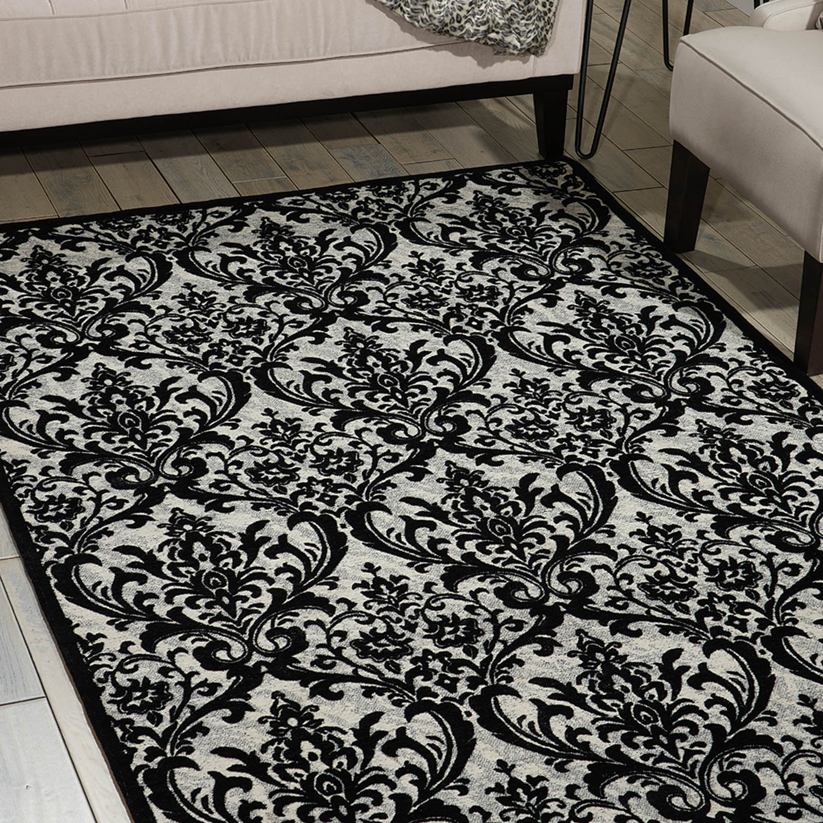 Damask Rugs DAS02 in Black and White by Nourison