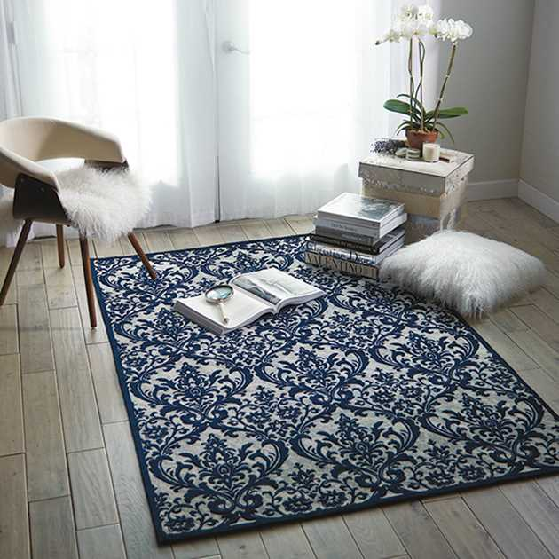 Damask Rugs DAS02 in Ivory and Navy by Nourison