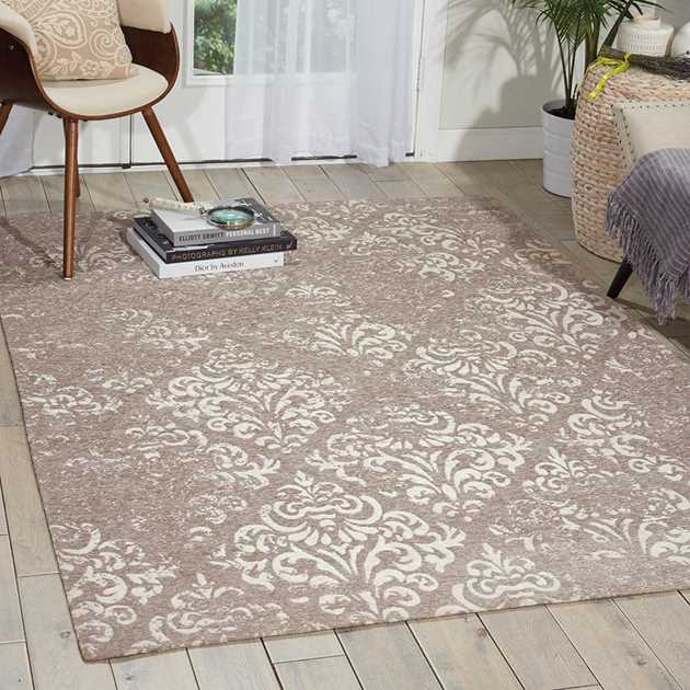 Damask Rugs DAS03 in Ivory and Grey by Nourison