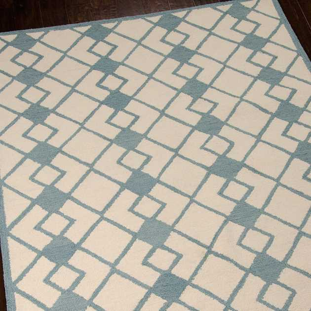 Decor Rugs DER03 by Nourison in Ivory and Blue