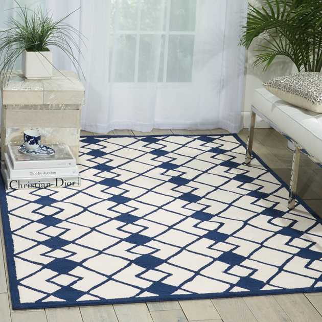Decor Rugs DER03 by Nourison in Ivory and Navy